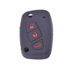 KMH Silicone Key Cover Fit for Fiat Punto Flip Key (Black with Red)