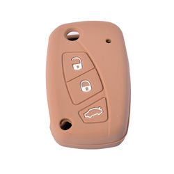 KMH Silicone Key Cover Fit for Fiat Linea Flip Key (Brown)