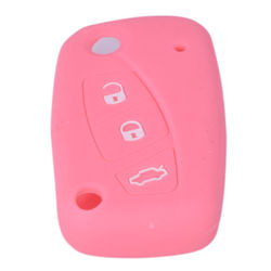 KMH Silicone Key Cover Fit for Fiat Linea Punto Flip Key (Light Pink)