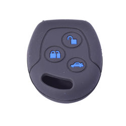 KMH Silicone Key Cover for ford Fusion 3 Button Remote Key (Black with Blue)