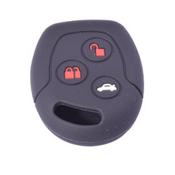 KMH Silicone Key Cover for ford Fusion 3 Button Remote Key (Black with Red)