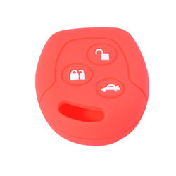 KMH Silicone Key Cover for ford Fusion 3 Button Remote Key (Red)