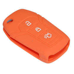 KMH Silicone Flip Key Cover 3 Button for New ford Fiesta/Aspire (Orange)