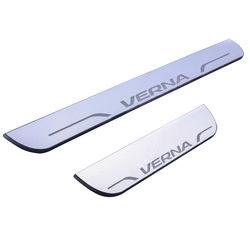 KMH Door Sill Plate Light Moving for Hyundai Verna (Set of 4 Pcs) (White)