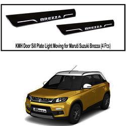 KMH Door Sill Plate Light Moving for Maruti Suzuki Brezza (Set of 4 Pcs) (White)