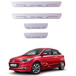KMH Door Sill Plate Light Moving for Hyundai I20 Elite(Set of 4 Pcs) (White)