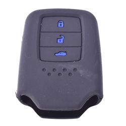 KMH Silicone Key Cover for Honda City 2014- 3 Button Smart Key (Black with Blue)