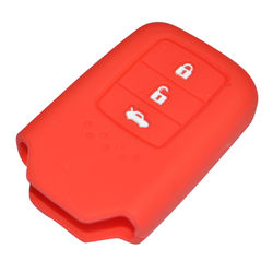 KMH Silicone Key Cover for Honda City 2014 3 Button Smart Key (Red)