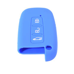 KMH Silicone Key Cover Fit for Hyundai Verna 3 Button Smart Key (Blue)