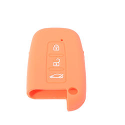KMH Silicone Key Cover Fit for Hyundai Verna 3 Button Smart Key (Orange)