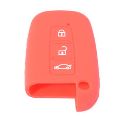 KMH Silicone Key Cover Fit for Hyundai Verna 3 Button Smart Key (Red)