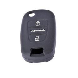 KMH Silicone Key Cover Fit for Hyundai Verna Fluidic 2 Button Flip Key (Black)