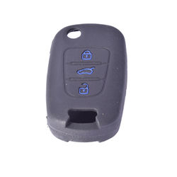 KMH Silicone Key Cover Fit for Hyundai Verna Fluidic 2 Button Flip Key (Black with Blue)