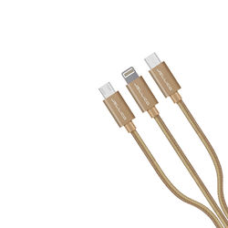 KMH Jellico Elegant Series 3 in 1 USB Cable -(Golden)