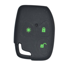 KMH Silicone Key Cover Fit for Mahindra Xylo/Scorpio 3 Button Remote Key (Black with Green)