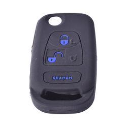 KMH Silicone Key Cover for Mahindra Bolero 3 Button Flip Key (Black with Blue)