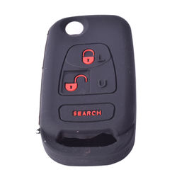 KMH Silicone Key Cover for Mahindra Bolero 3 Button Flip Key (Black with Red)