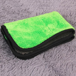 KMH 800 GSM Super Thick Plush Microfiber Towel Cloth (43cmx35cm)-Green