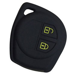 KMH Silicone Key Cover Fit for Suzuki Wagonr 2B Remote Key (Black with Yellow)
