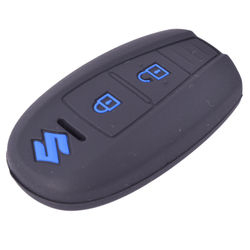 KMH Silicone Key Cover Fit for Suzuki Ciaz Smart Key (Black with Blue)