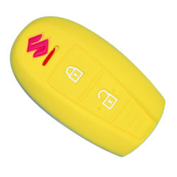 KMH Silicone Key Cover Fit for Maruti  Suzuki Ciaz Smart Key (Yellow)