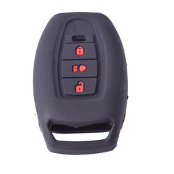 KMH Silicone Key Cover for Tata Safari Storme,3 Button Remote Key (Black with Red)