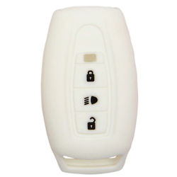 KMH Silicone Key Cover for Tata Aria,3 Button Remote Key (White)
