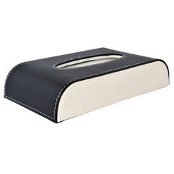KMH Luxury PU Leather Tissue Box -50 Pulls (100 Sheets)-1 Ply -Black with beige For Fiat Punto Evo