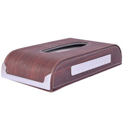 KMH Wooden Finishing 50 Pulls (100 Sheet) Tissue Box with Mobile Number Plate (Brown) For Skoda Rapid