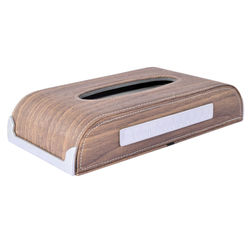 KMH Wooden Finishing 50 Pulls (100 Sheet) Tissue Box with Mobile Number Plate (Light Volnut) For Skoda Rapid