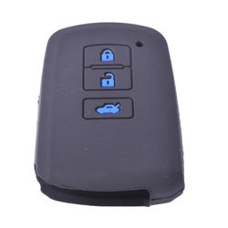 KMH Silicone Key Cover 3 Button for Toyota Altis 2016 Push Start Button (Black with Blue)