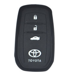 KMH Silicone Key Cover Fit for Toyota Fortuner 2016 3 Button -(Black)