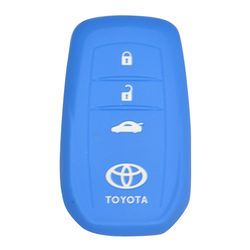 KMH Silicone Key Cover Fit for Toyota Fortuner 2016 3 Button -(Blue)