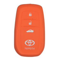 KMH Silicone Key Cover Fit for Toyota Fortuner 2016 3 Button -(Orange)