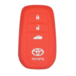 KMH Silicone Key Cover Fit for Toyota Fortuner 2016 3 Button -(Red)