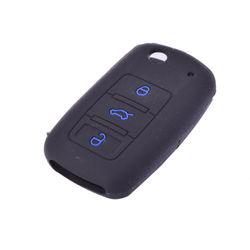 KMH Silicone Flip Key Cover for Volkswagen Vento Flip Keys Vw 3 Button Flip Keys  (Black with Blue)