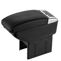 KMH Amrest Console Box With 4 Usb Ports Ashtray Glass Holder (Black)(AC-487)