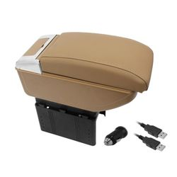 KMH Amrest Console Box With 4 Usb Ports Ashtray Gllass Holder (Beige)(AC-487)