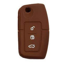 KMH Silicone Key Cover for ford Fiesta,3 Button Flip Key (Brown)