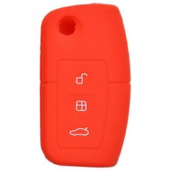 KMH Silicone Key Cover for ford Fiesta,3 Button Flip Key (Red)