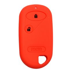 KMH Limited Edition Silicone Key Cover Fit for Honda City 2004-2008 2 Button Remote (Red with Black)