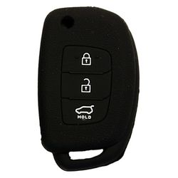 KMH Silicone Key Cover Fit for Hyundai Xcent,3 Button Flip Key Models 2013 Onwards (Black)