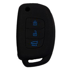 KMH Silicone Key Cover Fit for Hyundai Verna Fluidic,3 Button Flip Key Models 2013 Onwards (Black with Blue)