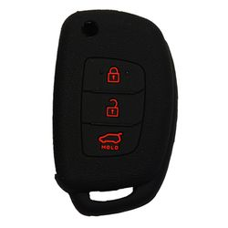 KMH Silicone Key Cover Fit for Hyundai Xcent,3 Button Flip Key Models 2013 Onwards (Black with Red)
