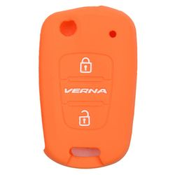 KMH Silicone Key Cover Fit for Hyundai Verna Fluidic 2 Button Flip Key (Orange)