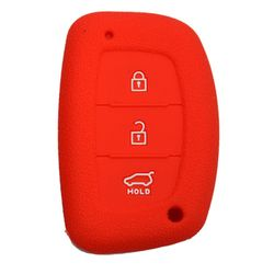 KMH Silicone Key Cover Fit for Hyundai Xcent,3 Button Smart Key (Red)