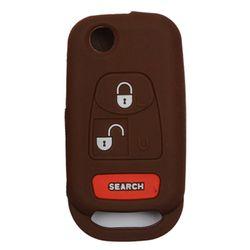 KMH Silicone Key Cover for Mahindra Bolero 3 Button Flip Key (Brown)