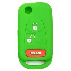 KMH Silicone Key Cover for Mahindra Bolero 3 Button Flip Key (Green)