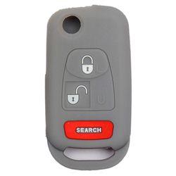 KMH Silicone Key Cover for Mahindra Bolero 3 Button Flip Key (Grey)