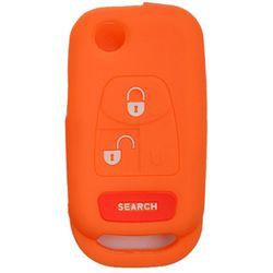 KMH Silicone Key Cover for Mahindra Bolero 3 Button Flip Key (Orange)